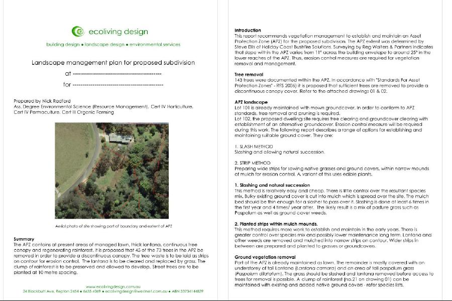 APZ example of report for erosion control