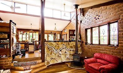 mudbrick, stone & timber interior