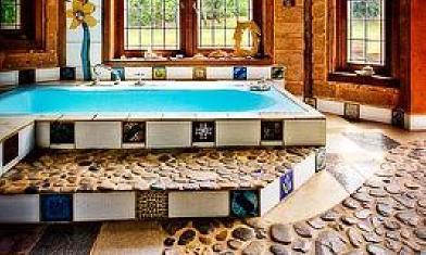 river stone bathroom floor
